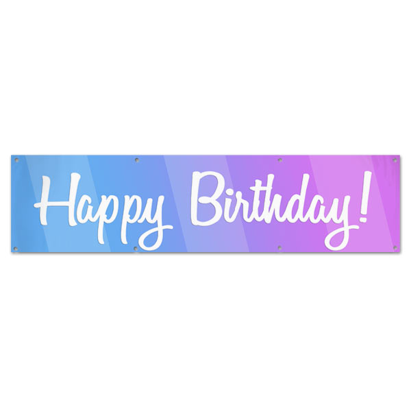 Celebrate a birthday with a party and be sure to decorate with a Happy Birthday Banner size 8x2