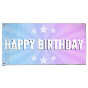 Celebrate your next birthday party and decorate in style with a bright Happy Birthday starburst banner size 4x2
