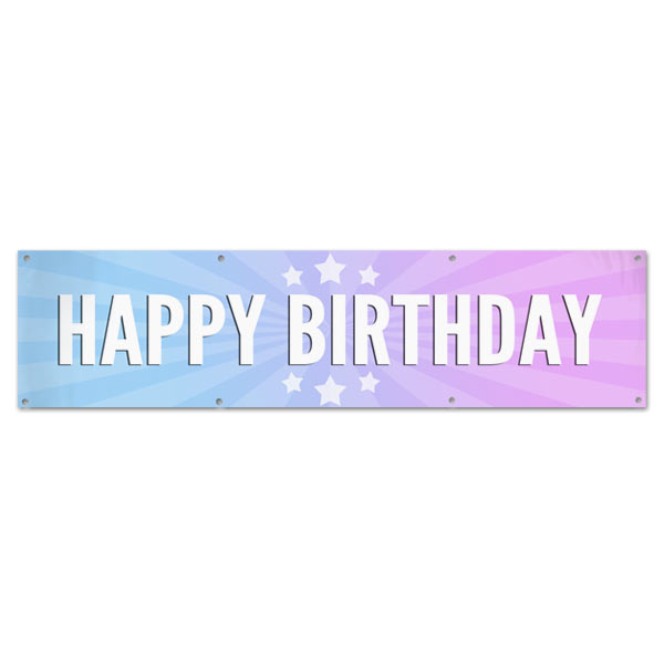 Celebrate your next birthday party and decorate in style with a bright Happy Birthday starburst banner size 8x2