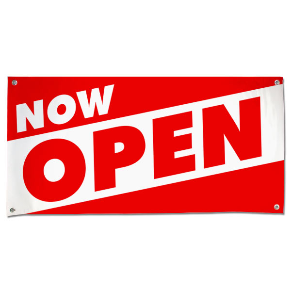 Red and White bold letters to get your message seen for your new Open Business with this Now Open Angle Banner 4x2