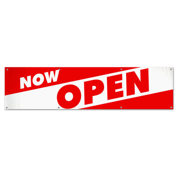 Red and White bold letters to get your message seen for your new Open Business with this Now Open Angle Banner 8x2