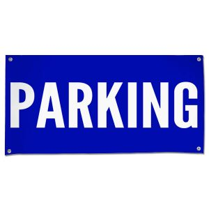 Plan for your event and make sure your guests know to park with an outdoor Parking venue banner size 4x2