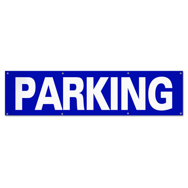 Plan for your event and make sure your guests know to park with an outdoor Parking venue banner size 8x2