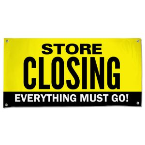 When it is time to close up shop, you need to sell everything off, announce your sale with this store closing sale banner size 4x2