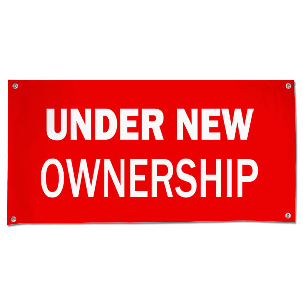Let your customers know that things have changed for the better with an Under new Ownership banner size 4x2