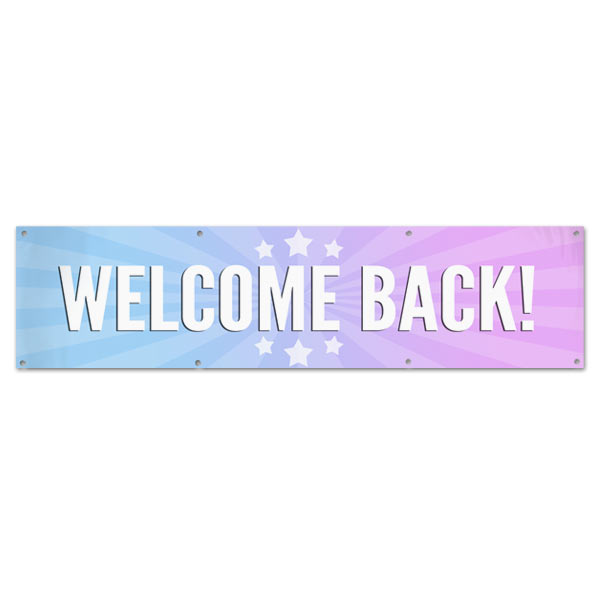 Celebrate the arrival of someone you care about with a welcome back banner perfect for parties and decorations size 8x2