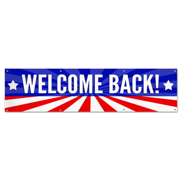 Wish someone a warm welcome with a patriotic American Flag Welcome Back Banner size 8x2