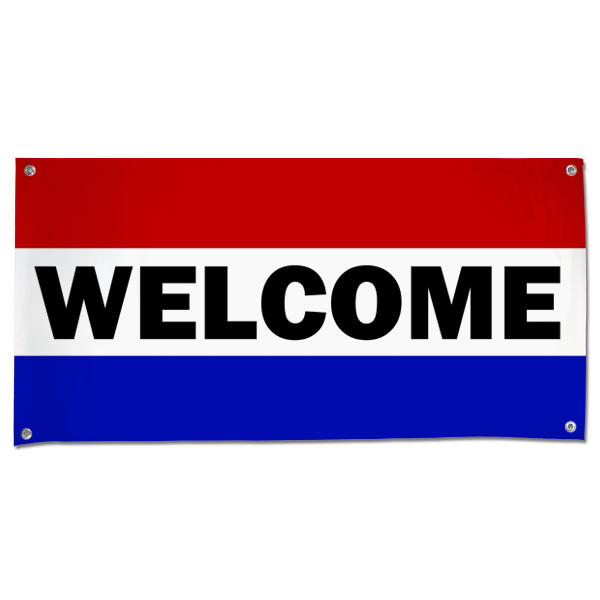 Hang a welcome banner in your small business or store using this classic patriotic Welcome Banner size 4x2