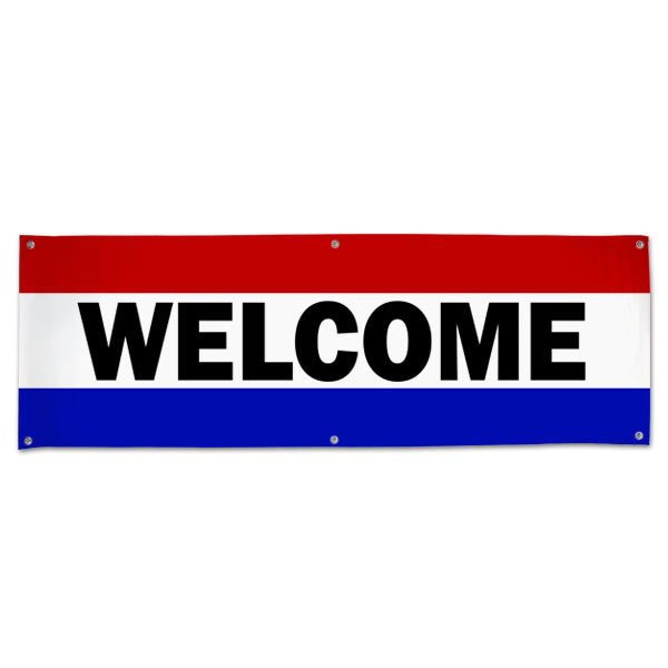 Hang a welcome banner in your small business or store using this classic patriotic Welcome Banner size 6x2