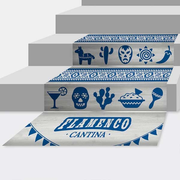 Decorate your stairs with contour floor graphics and custom designs