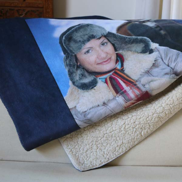Stay warm with a personalized sherpa blanket with your own collage of photos printed on it