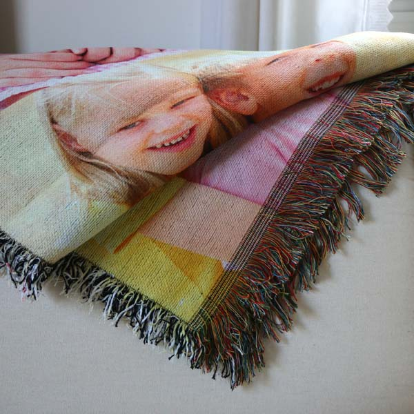 Custom photo collage blankets, tapestries and wall hangings for your home