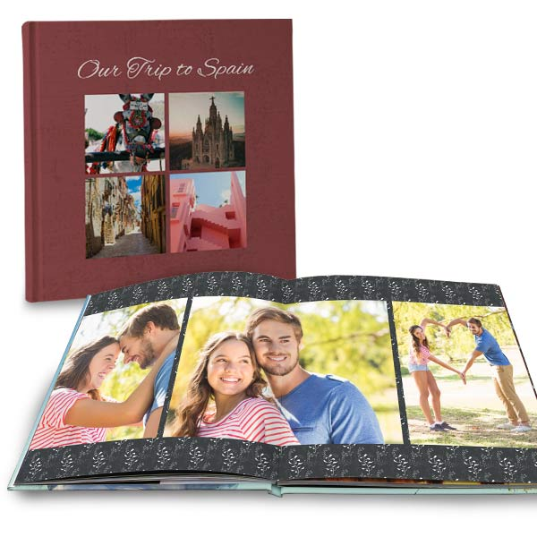 Create a vacation book or anniversary book with our large square lay flat photo books
