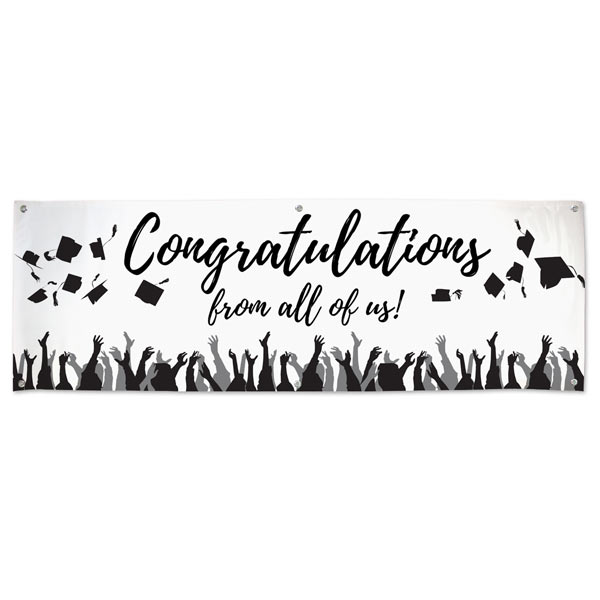 Order a Graduation banner that guests can sign with a Signature Banner