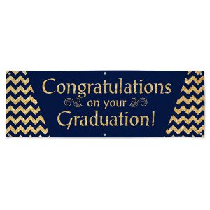 Elegant and bright Navy and gold Graduation banner for your Graduate