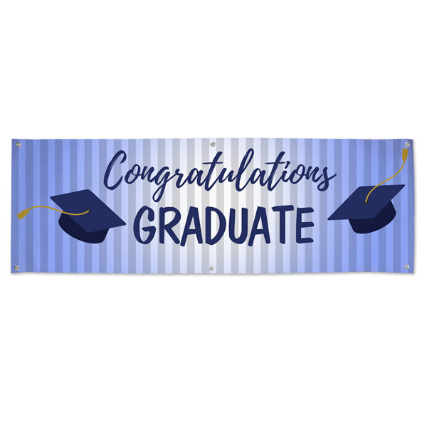 Congratulations Banner for Graduates with a blue theme