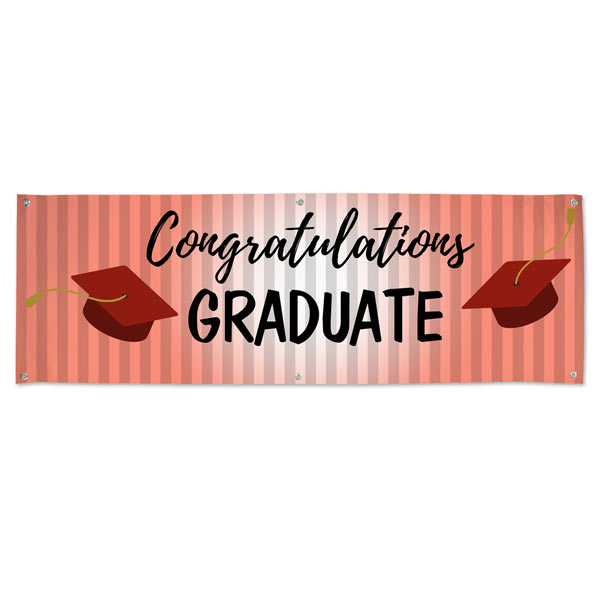 Congratulations banner for Graduates with a Red Theme