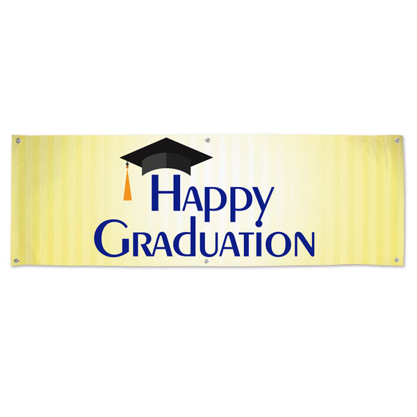 Add color to your Graduation party with a blue and gold Happy Graduation Banner