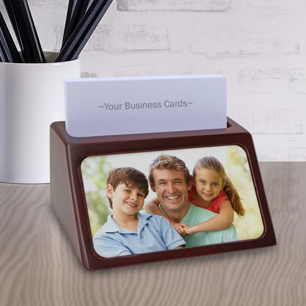 Add color to your desk with a personalized business card holder