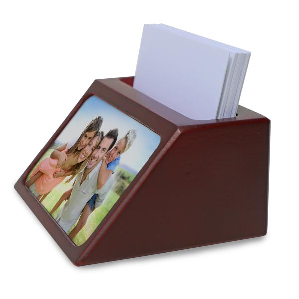 Photo business card holders are made of real cherry stained wood and are perfect for any office