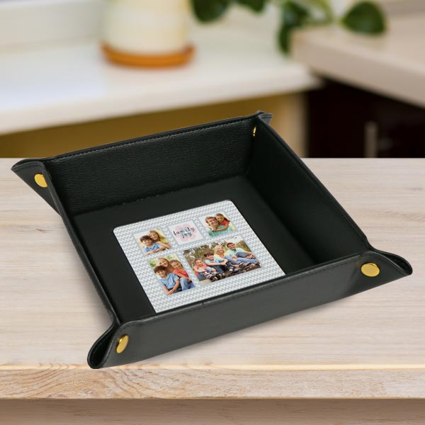 Create a valet tray for dad to store keys and coins, add photos and personalize your own