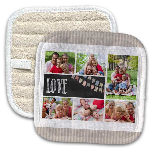 Personalized Pot holders allow you to add photos and text to one side of your pot holder