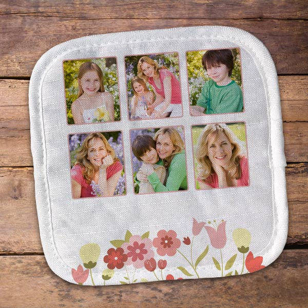 Create a custom pot holder for mom with photos and designer art
