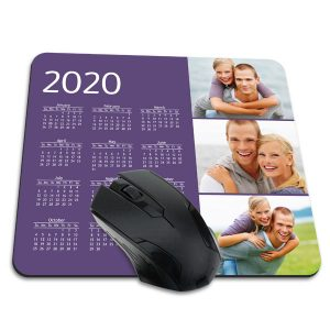 Choose from multiple designs and create a custom mouse pad with calendar 2020 for your desk