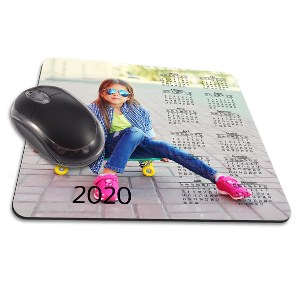 Add your photo and create a custom 2020 calendar mouse pad for your desk