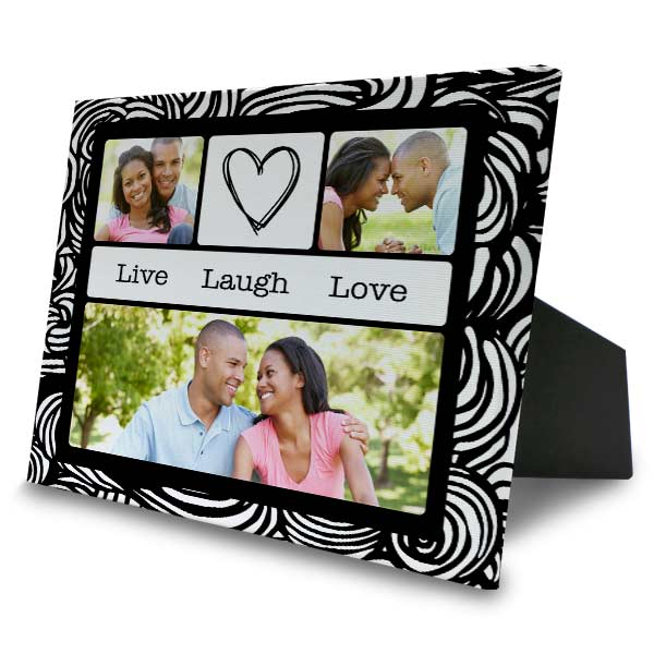 Designer easel back canvas with photo collage art and multiple photo memories.