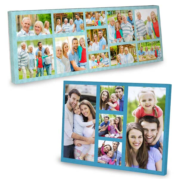Custom canvas collage online, printed with all your favorite photos. Customize it with your favorite color and layout to create new wall art.