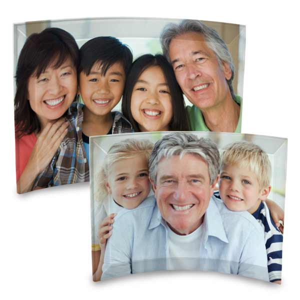 Add color to your home shelved with a curved glass print of your family