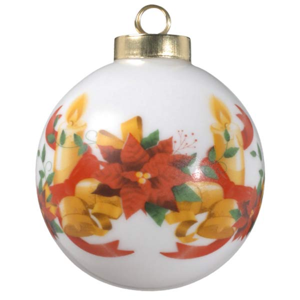 Create a beautiful ball photo ornament with poinsettia, ribbon, candle and bell artwork