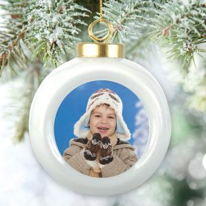 Porcelain ball ornament with your own photo makes a great gift each year