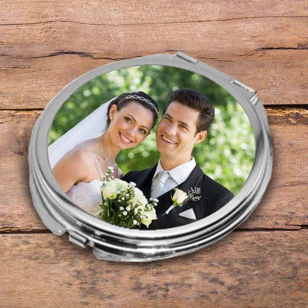 Create a custom gift for mom with a double sided photo compact mirror