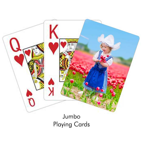 Create photo personalized playing cards with jumbo print, great for those with eye sight issues