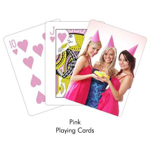 Create personalized pink playing cards for her or for party favors, custom pink cards