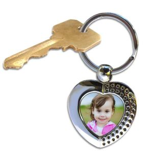 Choose from our many key chains and add a photo to this designer heart key ring