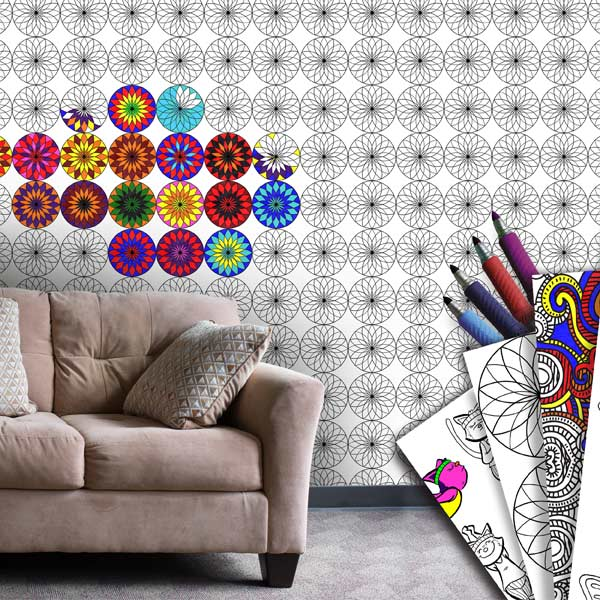 Add color to your home and have fun coloring it with coloring wallpaper