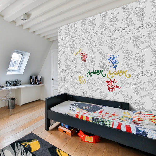 Coloring wallpaper is a perfect way to accent a room and your kids will love coloring on their walls