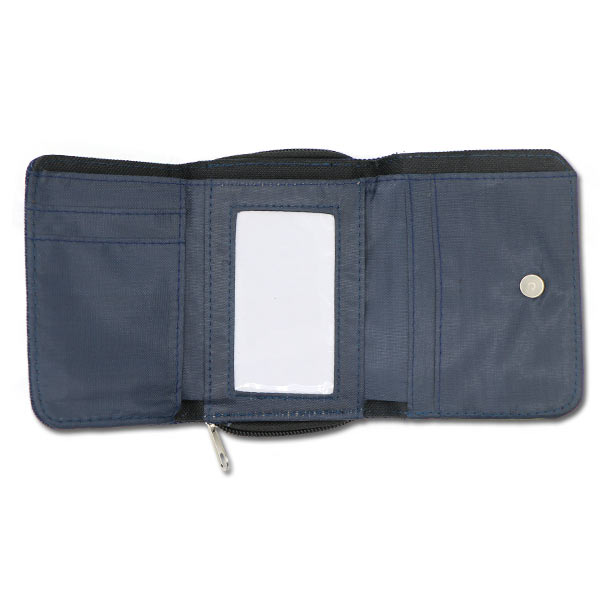 Denim wallet with open 3 fold section and ID holder