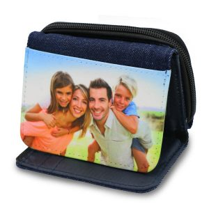 Denim wallet with photo printed on top for personalization