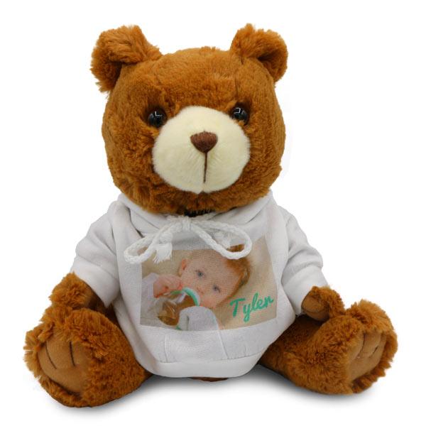 Cute stuffed teddy bear with photo personalized hooded sweatshirt
