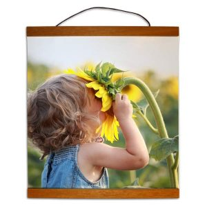 Create your own hanging photo art with hanging photo canvas with wood trim
