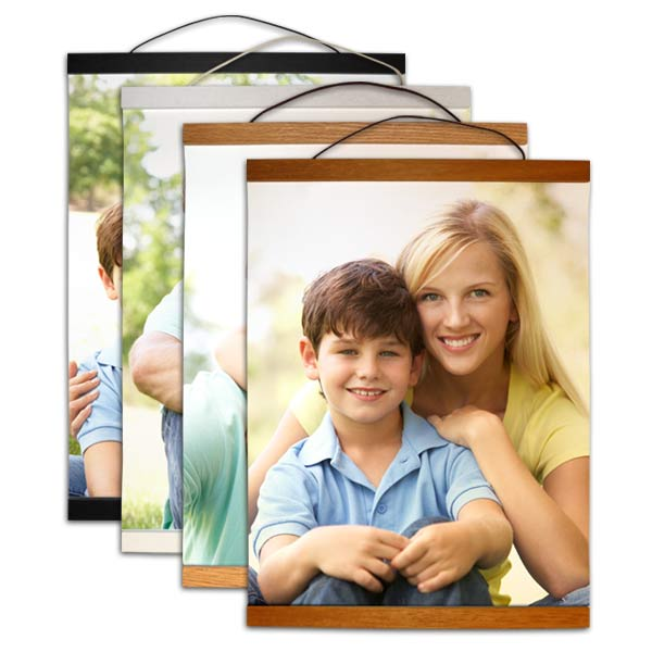 Choose from four different wooden plank trims for your personalized hanging canvas