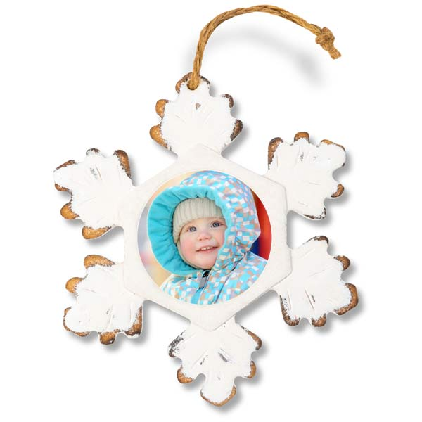 Add your picture to a beautiful rustic white snowflake wood ornament