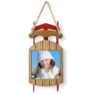 Wood and red metal sled photo ornament, just add your own picture