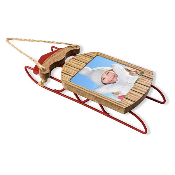beautifully crafted sled ornament with your picture inset into the wood seat of the sled