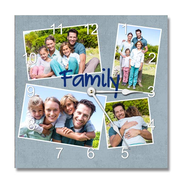 Design your own photo collage clock with custom text and photos for your home