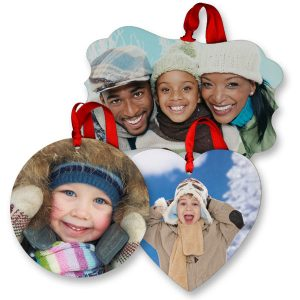 Add color to your tree with a variety of photos printed on glossy photo ornaments